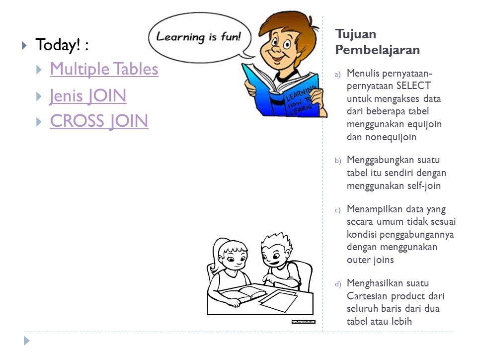 Tujuan Pembelajaran a) Menulis pernyataan- pernyataan SELECT untuk mengakses data dari beberapa tabel menggunakan equijoin dan nonequijoin b) Menggabu