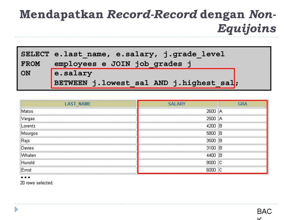 Mendapatkan Record-Record dengan Non- Equijoins BAC K