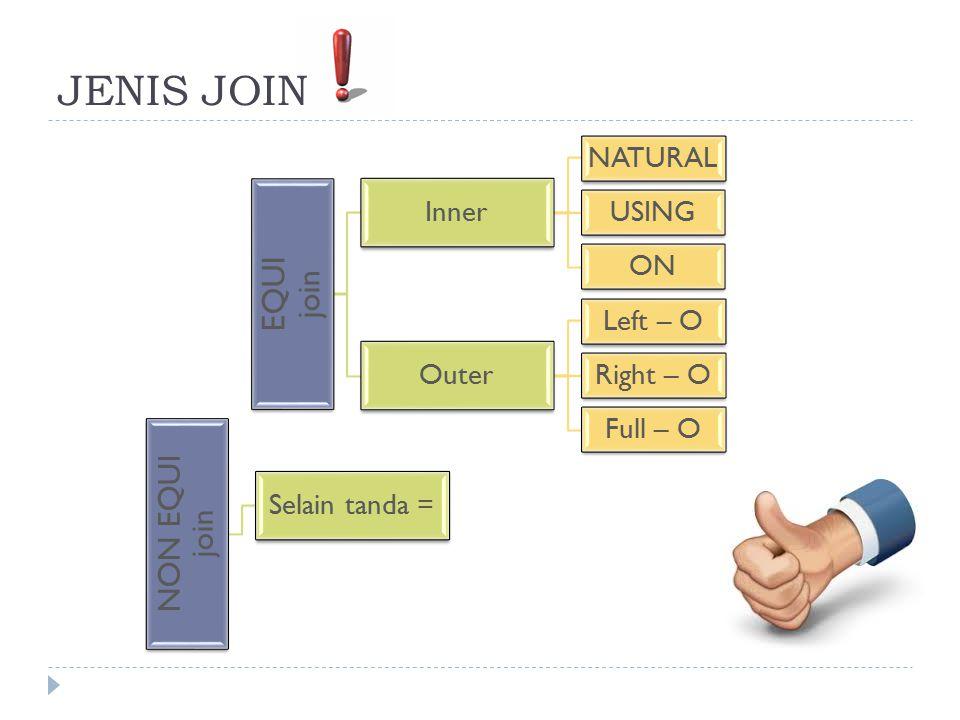 Klausa ON  Kondisi join untuk natural join pada dasarnya adalah suatu equijoin pada seluruh kolom-kolom dengan nama yang sama.