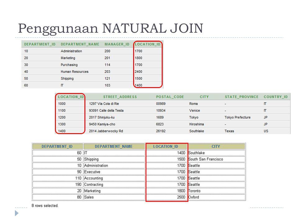  tabel LOCATIONS digabungkan ke tabel DEPARTMENT oleh kolom LOCATION_ID, satu-satunya kolom dengan nama yang sama pada kedua tabel.