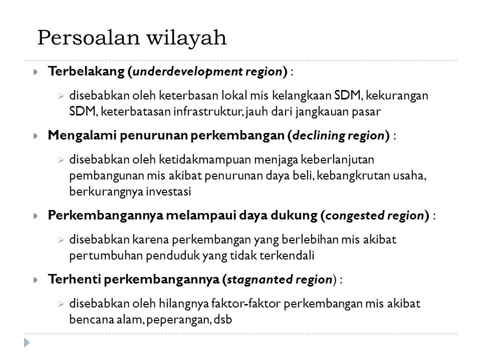 Persoalan wilayah  Terbelakang (underdevelopment region) :  disebabkan oleh keterbasan lokal mis kelangkaan SDM, kekurangan SDM, keterbatasan infras