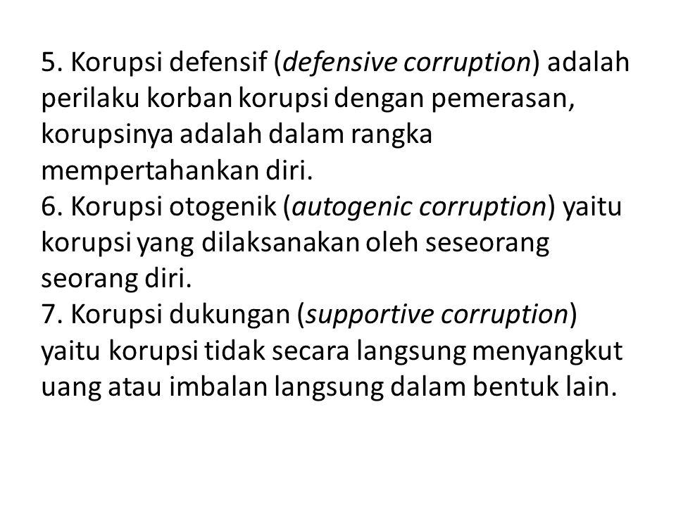 5. Korupsi defensif (defensive corruption) adalah perilaku korban korupsi dengan pemerasan, korupsinya adalah dalam rangka mempertahankan diri. 6. Kor