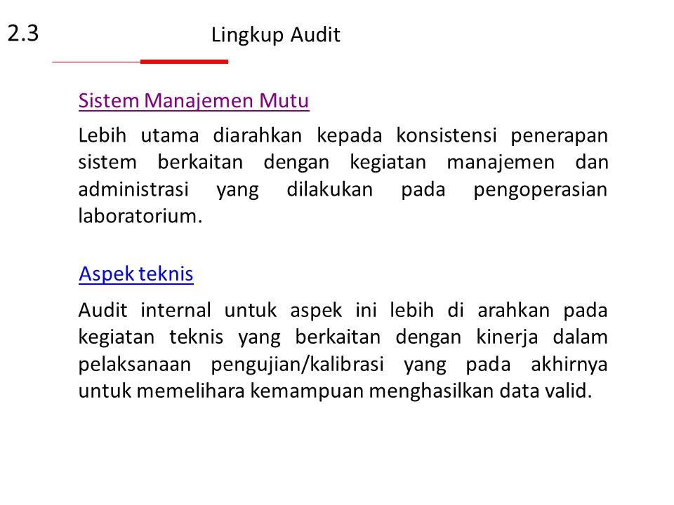 Tujuan Khusus Audit Internal Laboratorium Contoh: Tujuan Khusus Audit Internal. Untuk memenuhi persyaratan standard ISO 17025:2005; Untuk melaksanakan