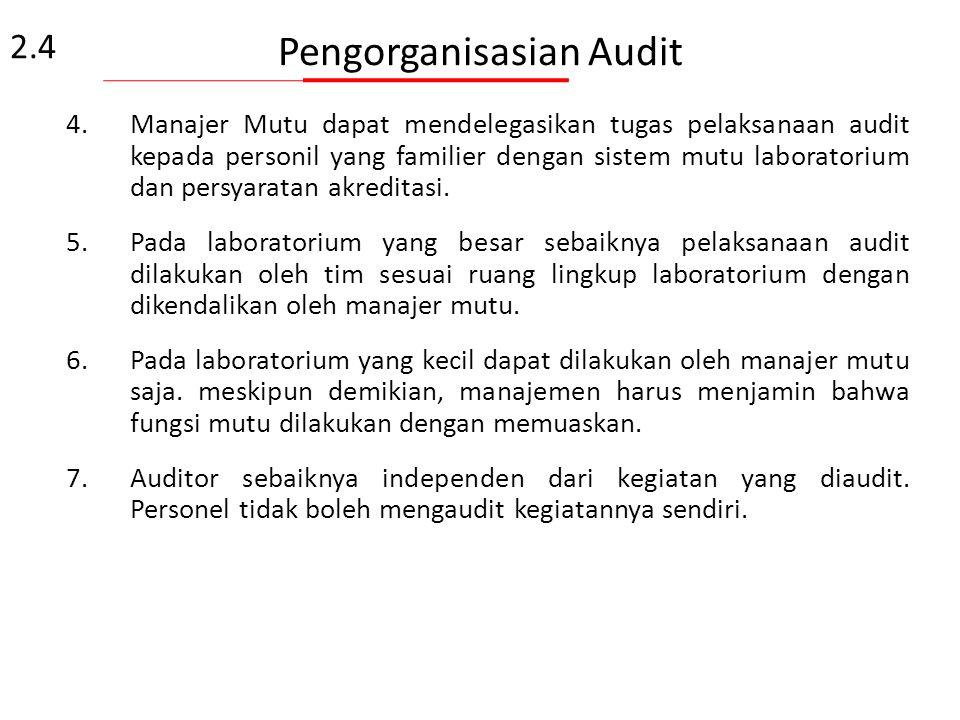 "Pengorganisasian Audit 1.Pada umumnya Manajer mutu sebagai manajer program audit dan kadang-kadang sebagai ""lead auditor"" – Manajer Mutu bertanggung j"