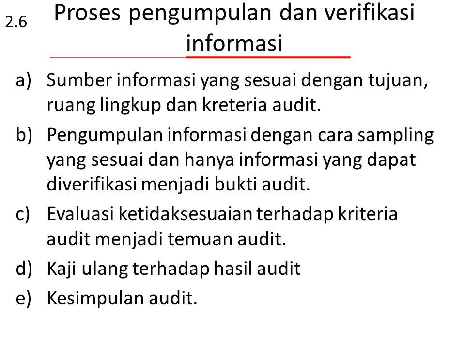 2.6.3 Selama audit : – auditor mencari bukti obyektif bahwa persyaratan sistem mutu dipenuhi, – dokumen sistem mutu yang digunakan dibandingkan dengan
