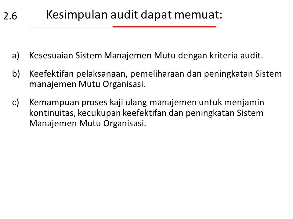 Penyiapan kesimpulan audit Tim audit berunding sebelum pertemuan penutup untuk: a)Mereview temuan audit, dan informasi lainnya yang dikumpulkan selama