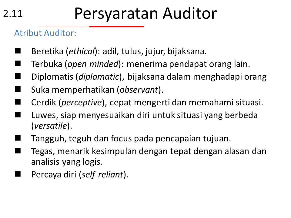 Prinsip Kode Etik Auditor  Etika Kepercayaan, integritas, rahasia dan bijaksana.  Adil Temuan audit, kesimpulan audit dan laporan audit menggambarka