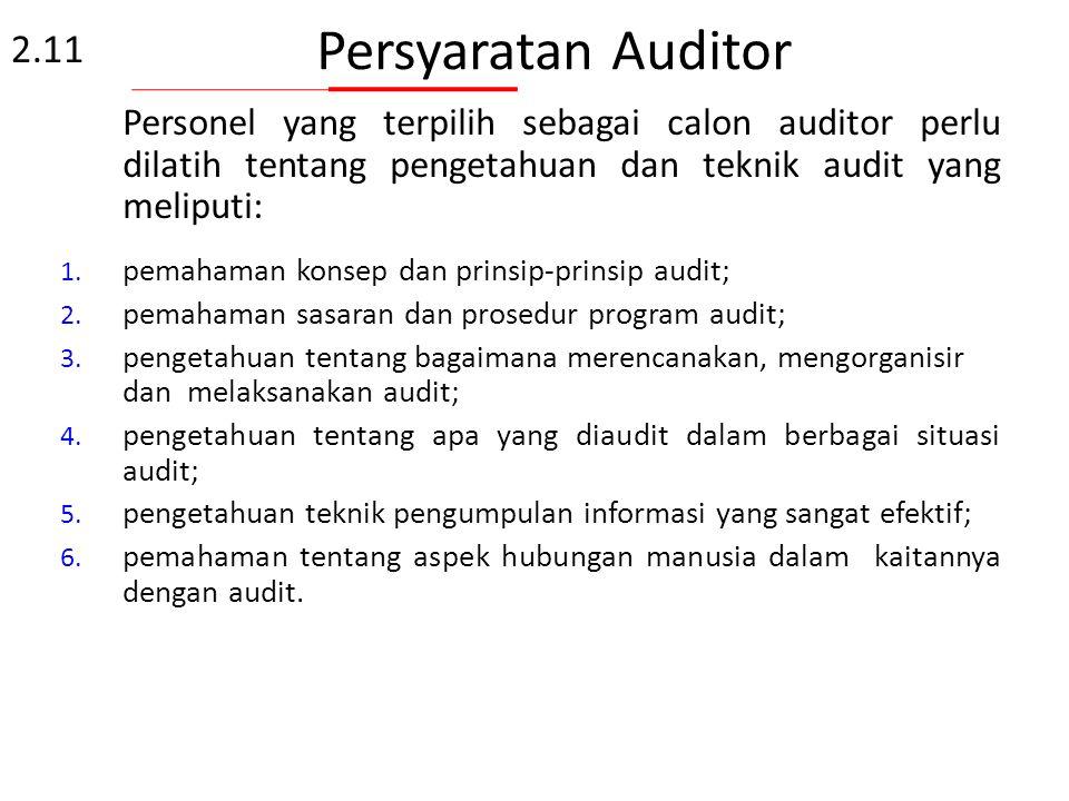 Kompetensi dan Evaluasi auditor Kompetensi 2.11 Atribut Auditor: Pendidikan Pengalaman Kerja Pelatihan Auditor Pengalaman Audit Pengetahuan dan ketram