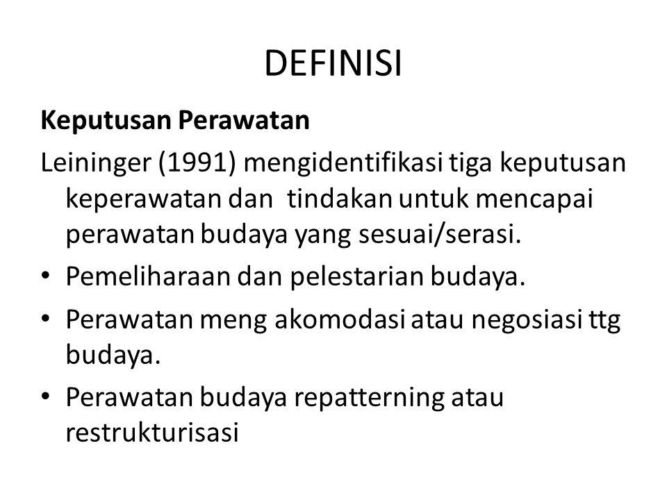 DEFINISI Keputusan Perawatan Leininger (1991) mengidentifikasi tiga keputusan keperawatan dan tindakan untuk mencapai perawatan budaya yang sesuai/ser