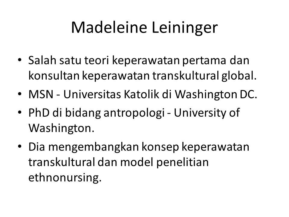 Madeleine Leininger Salah satu teori keperawatan pertama dan konsultan keperawatan transkultural global. MSN - Universitas Katolik di Washington DC. P