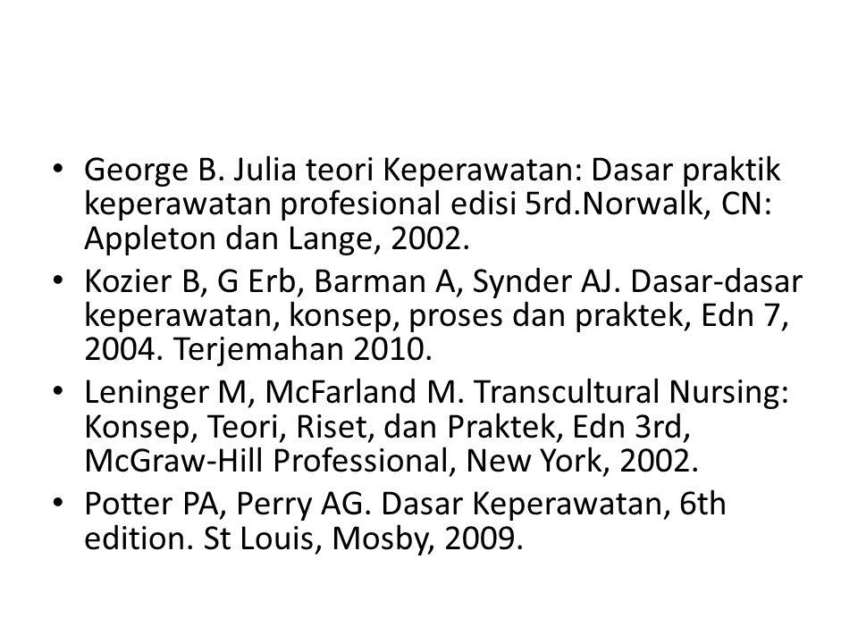George B. Julia teori Keperawatan: Dasar praktik keperawatan profesional edisi 5rd.Norwalk, CN: Appleton dan Lange, 2002. Kozier B, G Erb, Barman A, S