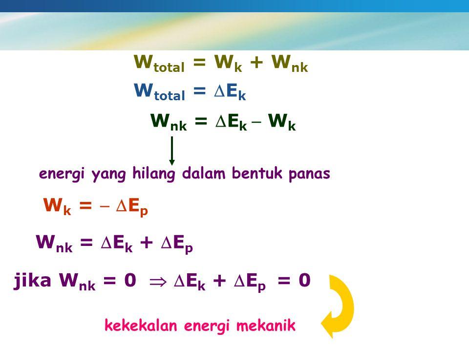 W total = W k + W nk W total = E k W nk = E k  W k energi yang hilang dalam bentuk panas W k =  E p W nk = E k + E p jika W nk = 0  E k + E