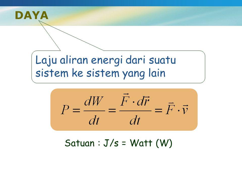 DAYA Laju aliran energi dari suatu sistem ke sistem yang lain Satuan : J/s = Watt (W)