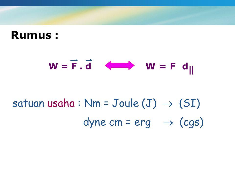 W = F. d W = F d    satuan usaha : Nm = Joule (J)  (SI) dyne cm = erg  (cgs) Rumus :