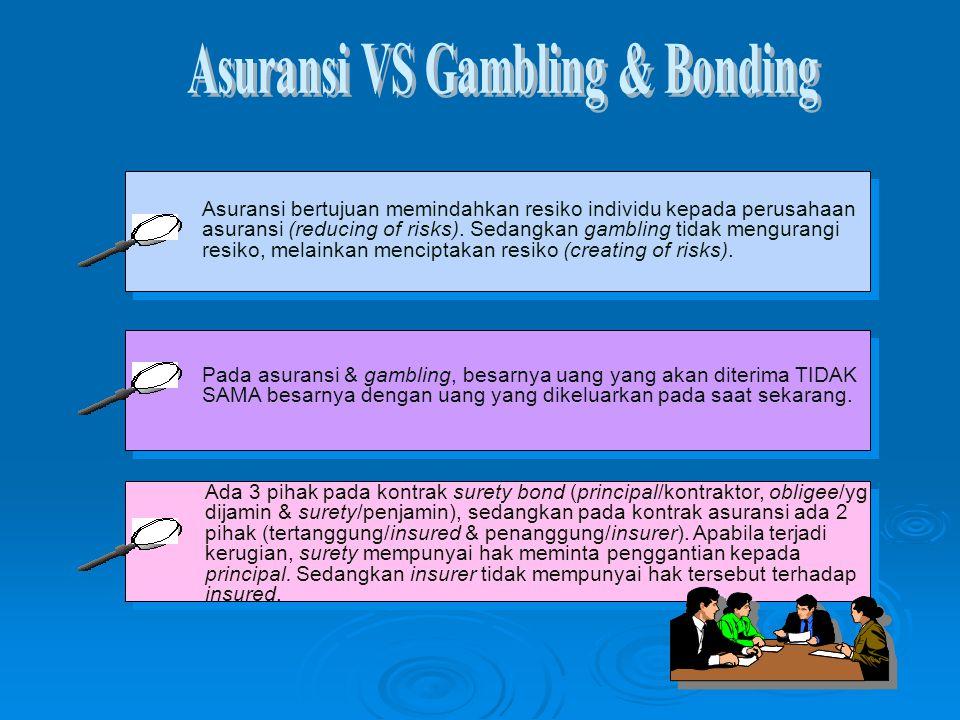 Asuransi bertujuan memindahkan resiko individu kepada perusahaan asuransi (reducing of risks). Sedangkan gambling tidak mengurangi resiko, melainkan m