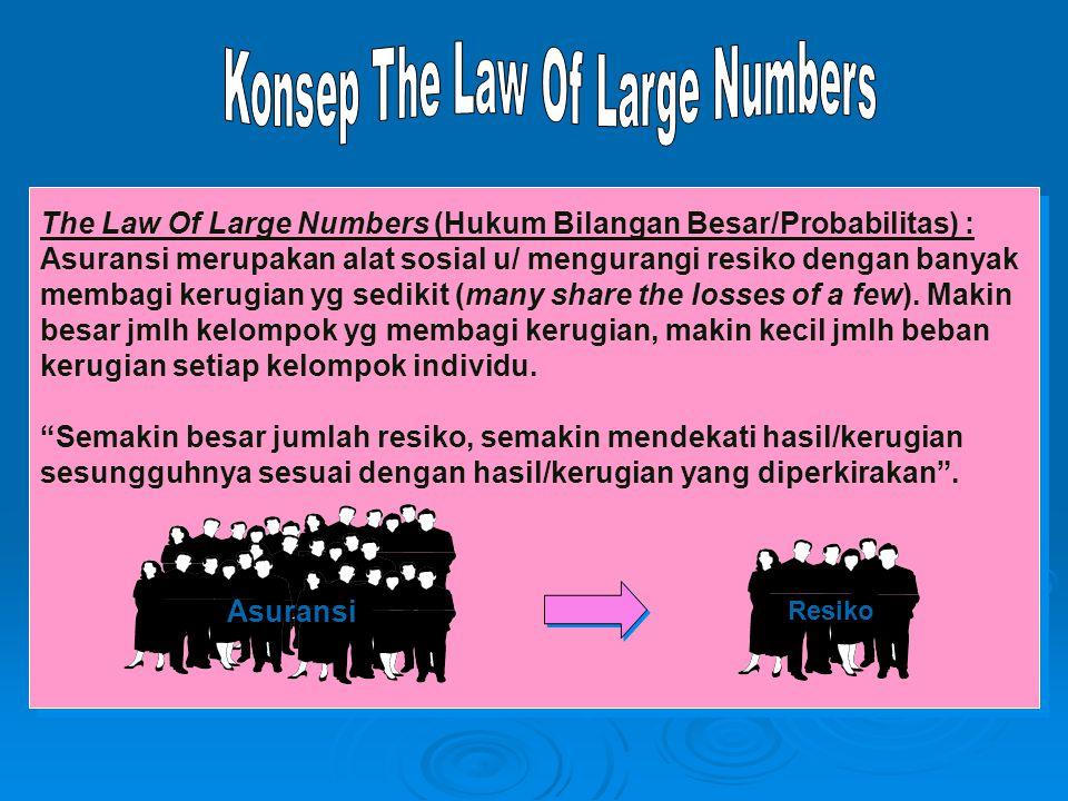The Law Of Large Numbers (Hukum Bilangan Besar/Probabilitas) : Asuransi merupakan alat sosial u/ mengurangi resiko dengan banyak membagi kerugian yg s