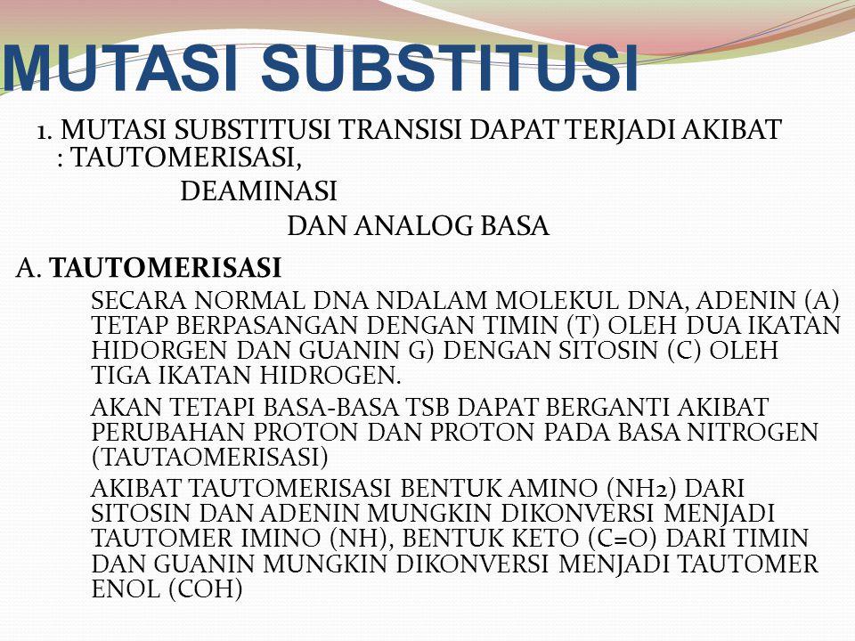 MUTASI SUBSTITUSI A. TAUTOMERISASI SECARA NORMAL DNA NDALAM MOLEKUL DNA, ADENIN (A) TETAP BERPASANGAN DENGAN TIMIN (T) OLEH DUA IKATAN HIDORGEN DAN GU