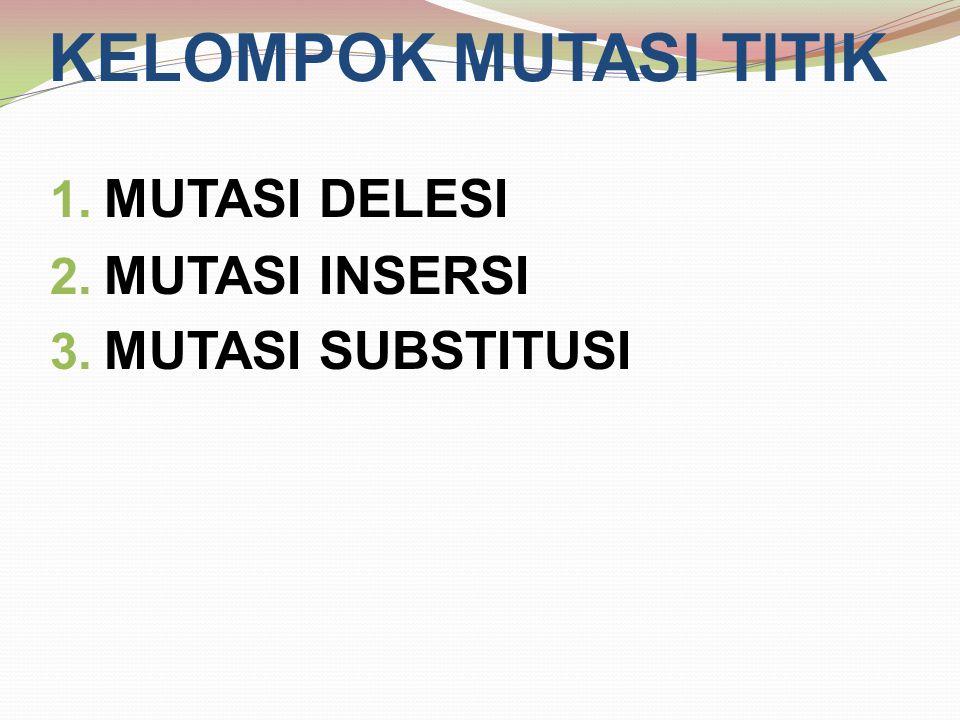 KELOMPOK MUTASI TITIK 1. MUTASI DELESI 2. MUTASI INSERSI 3. MUTASI SUBSTITUSI