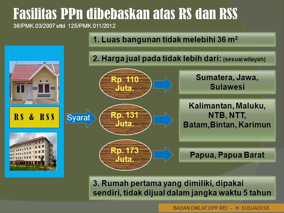 Fasilitas PPn dibebaskan atas RS dan RSS 36/PMK.03/2007 sttd 125/PMK.011/2012 1.