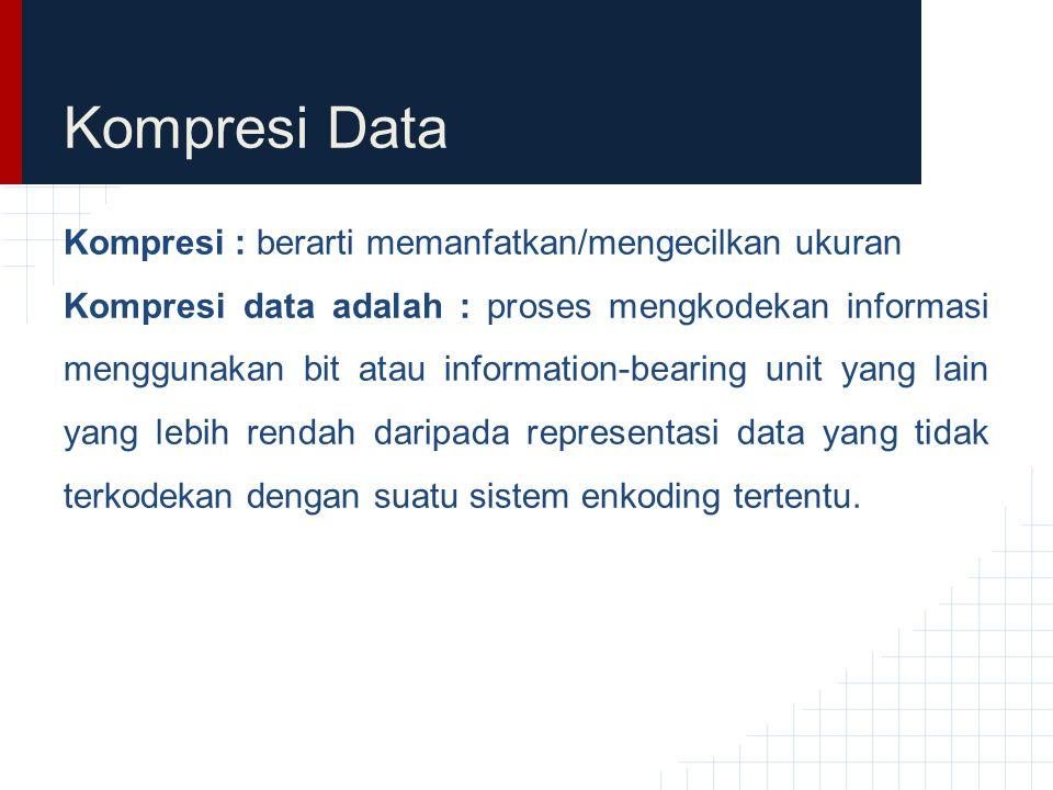 Kompresi Data Kompresi : berarti memanfatkan/mengecilkan ukuran Kompresi data adalah : proses mengkodekan informasi menggunakan bit atau information-b