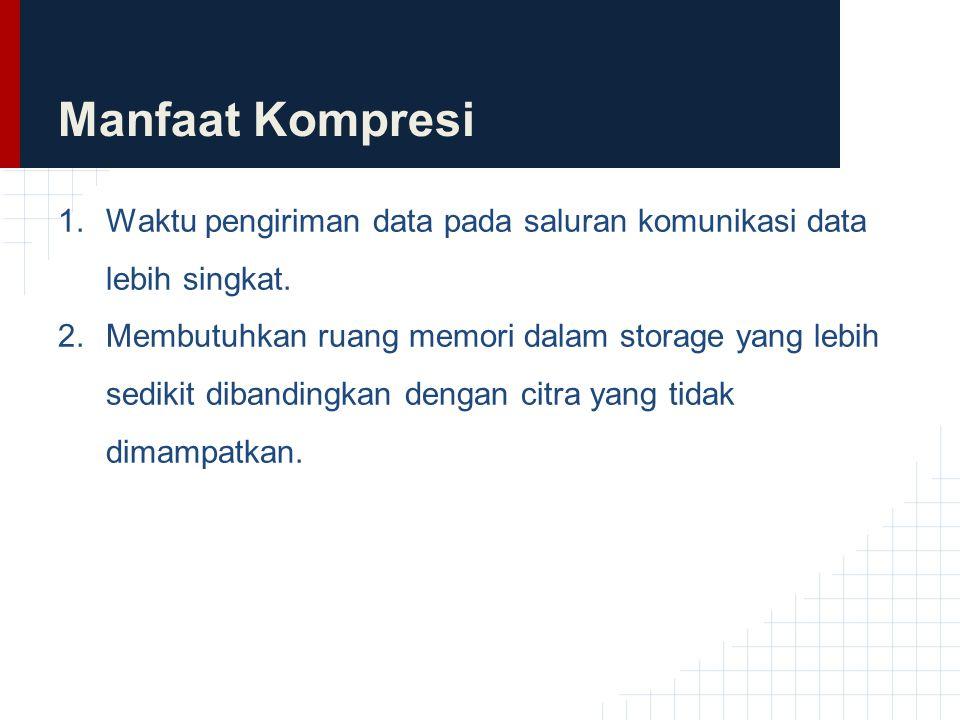 Manfaat Kompresi 1.Waktu pengiriman data pada saluran komunikasi data lebih singkat. 2.Membutuhkan ruang memori dalam storage yang lebih sedikit diban