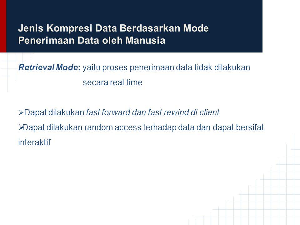 Jenis Kompresi Data Berdasarkan Mode Penerimaan Data oleh Manusia Retrieval Mode: yaitu proses penerimaan data tidak dilakukan secara real time  Dapa