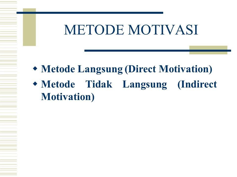 METODE MOTIVASI  Metode Langsung (Direct Motivation)  Metode Tidak Langsung (Indirect Motivation)