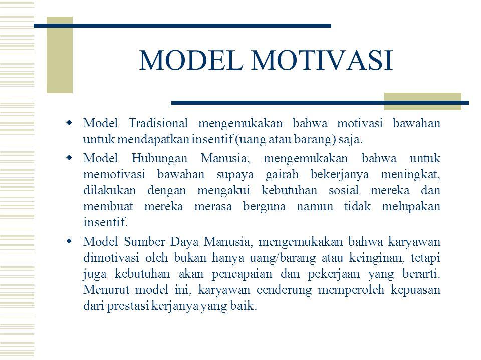 MODEL MOTIVASI  Model Tradisional mengemukakan bahwa motivasi bawahan untuk mendapatkan insentif (uang atau barang) saja.  Model Hubungan Manusia, m