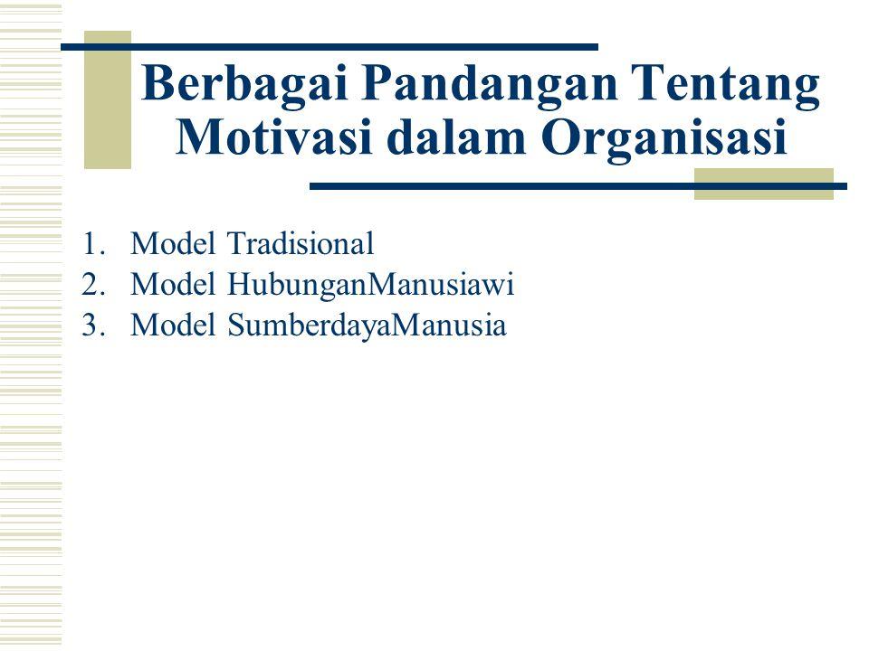 Berbagai Pandangan Tentang Motivasi dalam Organisasi 1.Model Tradisional 2.Model HubunganManusiawi 3.Model SumberdayaManusia