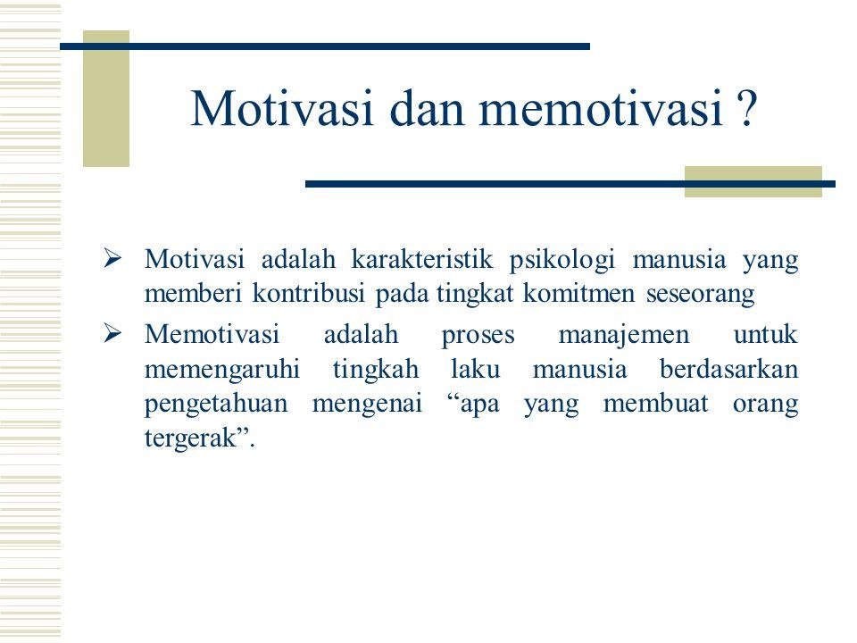  Motivasi adalah karakteristik psikologi manusia yang memberi kontribusi pada tingkat komitmen seseorang  Memotivasi adalah proses manajemen untuk m