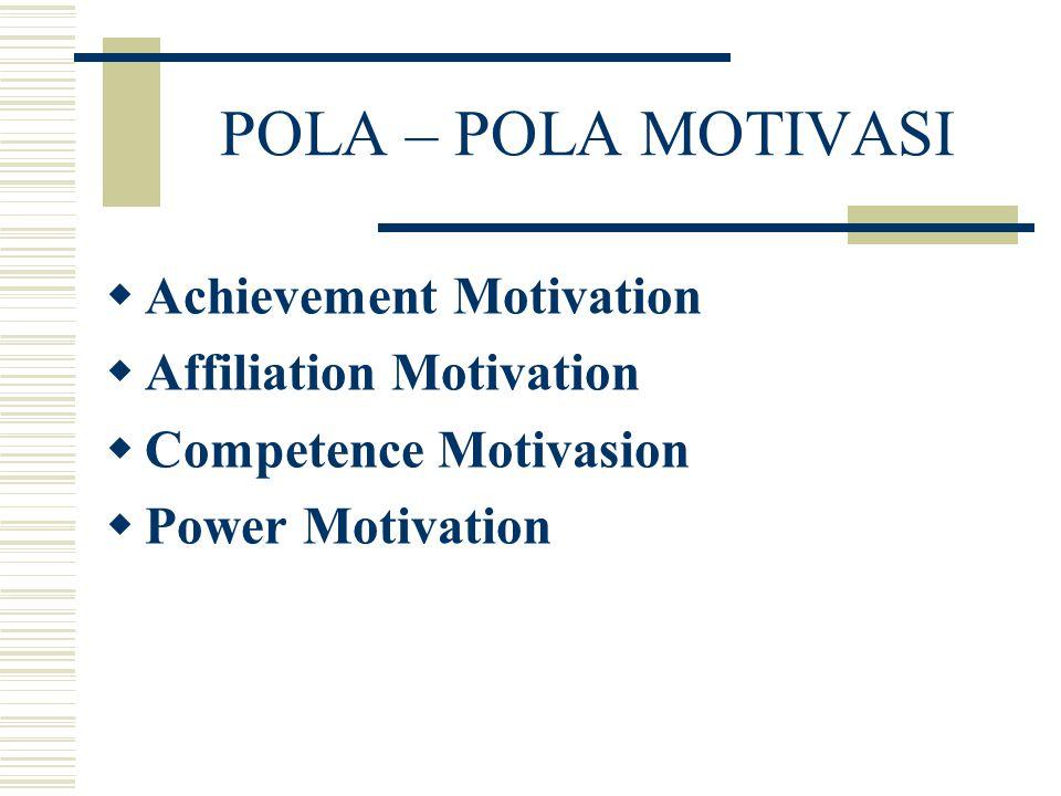 POLA – POLA MOTIVASI  Achievement Motivation  Affiliation Motivation  Competence Motivasion  Power Motivation