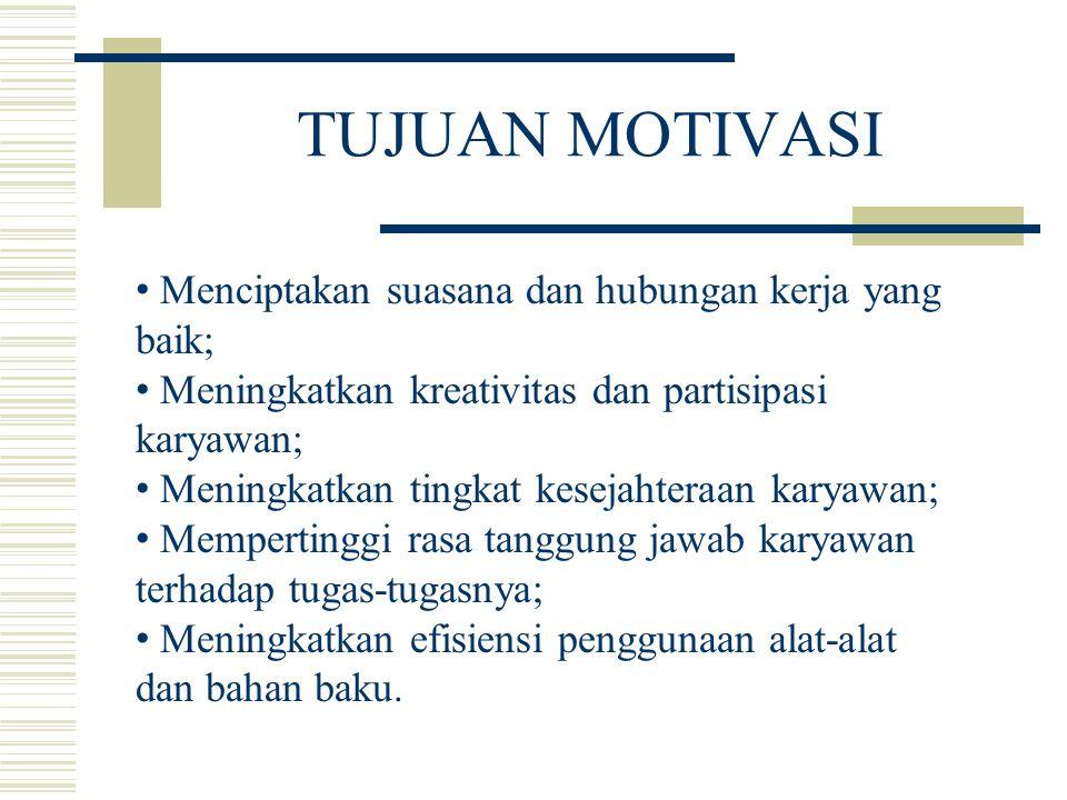 TUJUAN MOTIVASI Menciptakan suasana dan hubungan kerja yang baik; Meningkatkan kreativitas dan partisipasi karyawan; Meningkatkan tingkat kesejahteraa