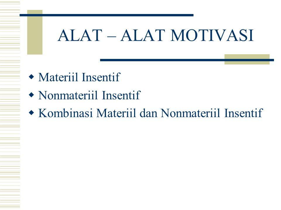 ALAT – ALAT MOTIVASI  Materiil Insentif  Nonmateriil Insentif  Kombinasi Materiil dan Nonmateriil Insentif