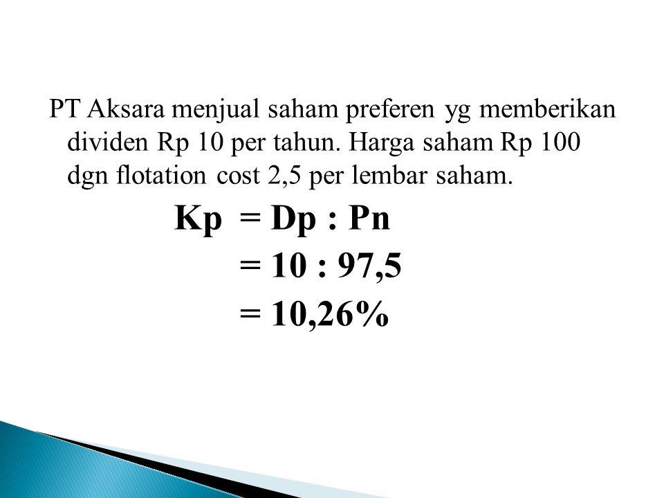 PT Aksara menjual saham preferen yg memberikan dividen Rp 10 per tahun.