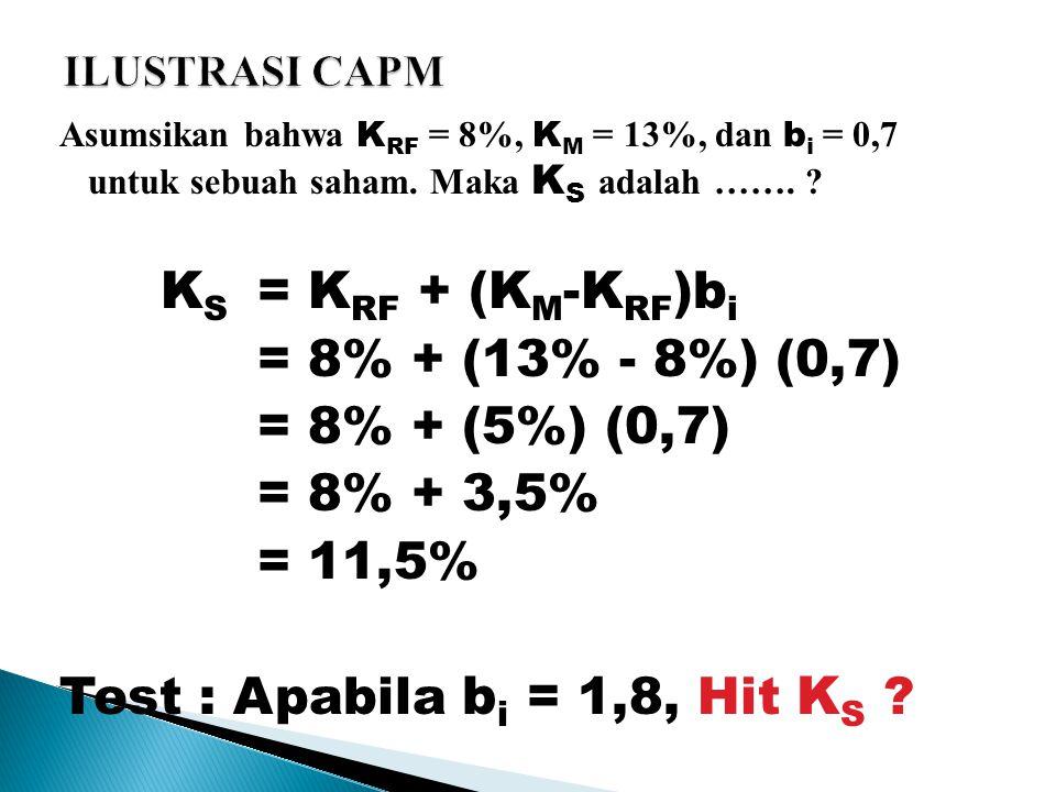 Asumsikan bahwa K RF = 8%, K M = 13%, dan b i = 0,7 untuk sebuah saham.