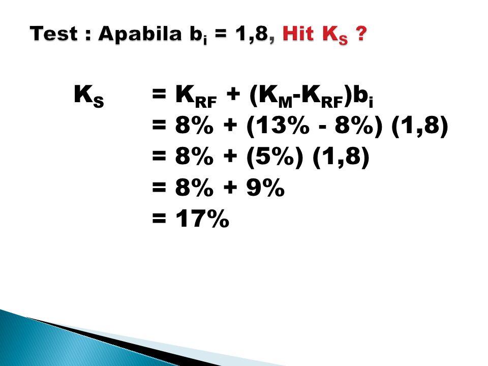 K S = K RF + (K M -K RF )b i = 8% + (13% - 8%) (1,8) = 8% + (5%) (1,8) = 8% + 9% = 17%