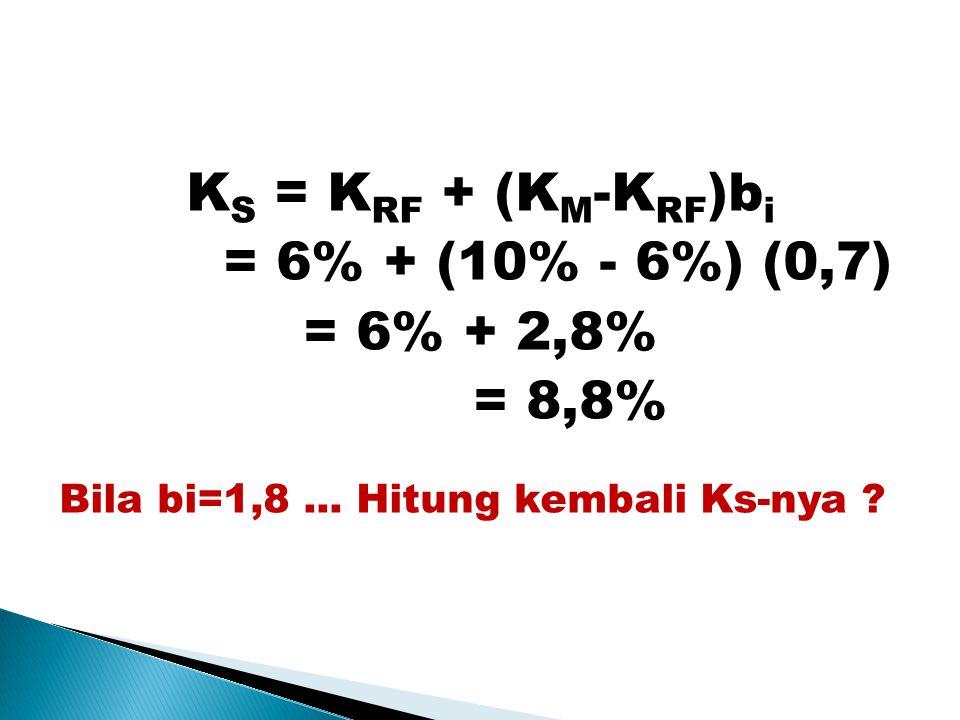 K S = K RF + (K M -K RF )b i = 6% + (10% - 6%) (0,7) = 6% + 2,8% = 8,8% Bila bi=1,8...