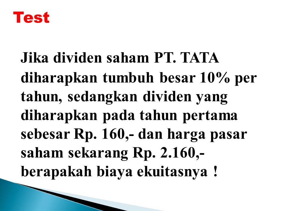 Test Jika dividen saham PT.