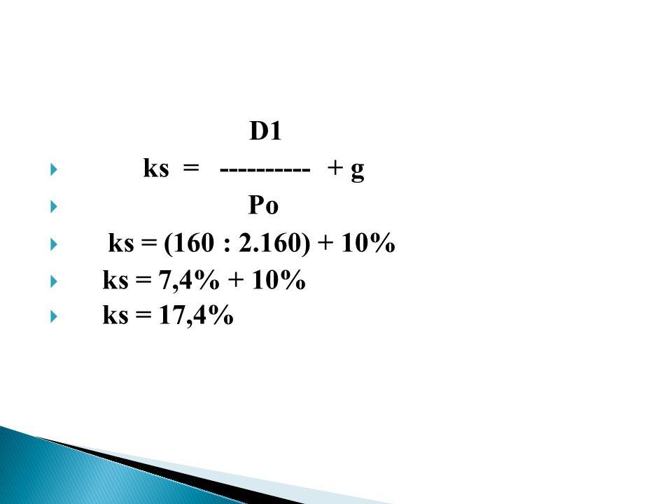 D1  ks = ---------- + g  Po  ks = (160 : 2.160) + 10%  ks = 7,4% + 10%  ks = 17,4%