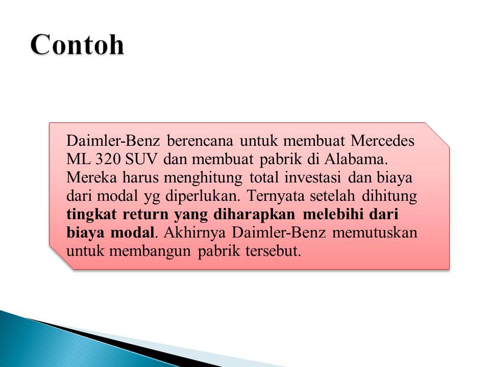 Daimler-Benz berencana untuk membuat Mercedes ML 320 SUV dan membuat pabrik di Alabama.