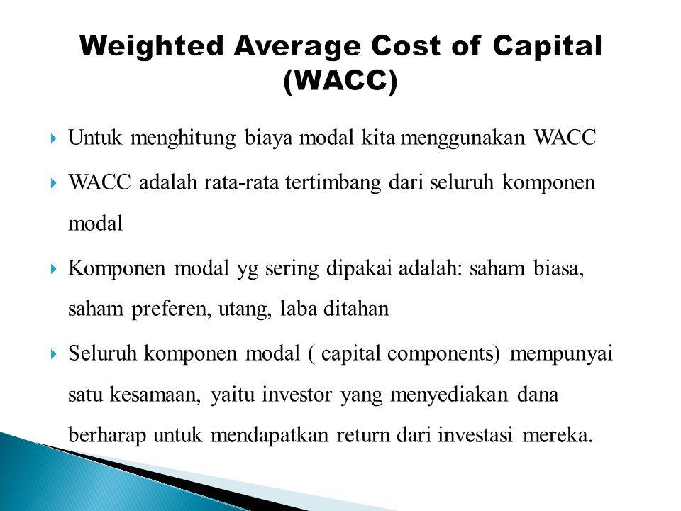  Untuk menghitung biaya modal kita menggunakan WACC  WACC adalah rata-rata tertimbang dari seluruh komponen modal  Komponen modal yg sering dipakai adalah: saham biasa, saham preferen, utang, laba ditahan  Seluruh komponen modal ( capital components) mempunyai satu kesamaan, yaitu investor yang menyediakan dana berharap untuk mendapatkan return dari investasi mereka.