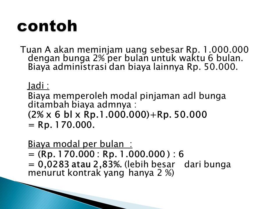Tuan A akan meminjam uang sebesar Rp.1.000.000 dengan bunga 2% per bulan untuk waktu 6 bulan.
