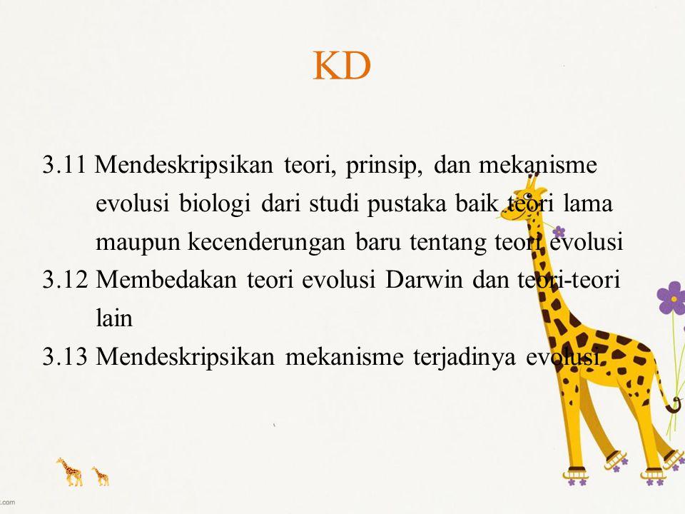 KD 3.11 Mendeskripsikan teori, prinsip, dan mekanisme evolusi biologi dari studi pustaka baik teori lama maupun kecenderungan baru tentang teori evolu