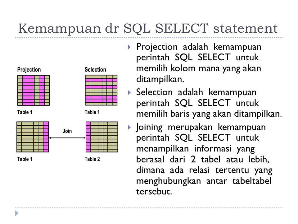 Kemampuan dr SQL SELECT statement  Projection adalah kemampuan perintah SQL SELECT untuk memilih kolom mana yang akan ditampilkan.  Selection adalah