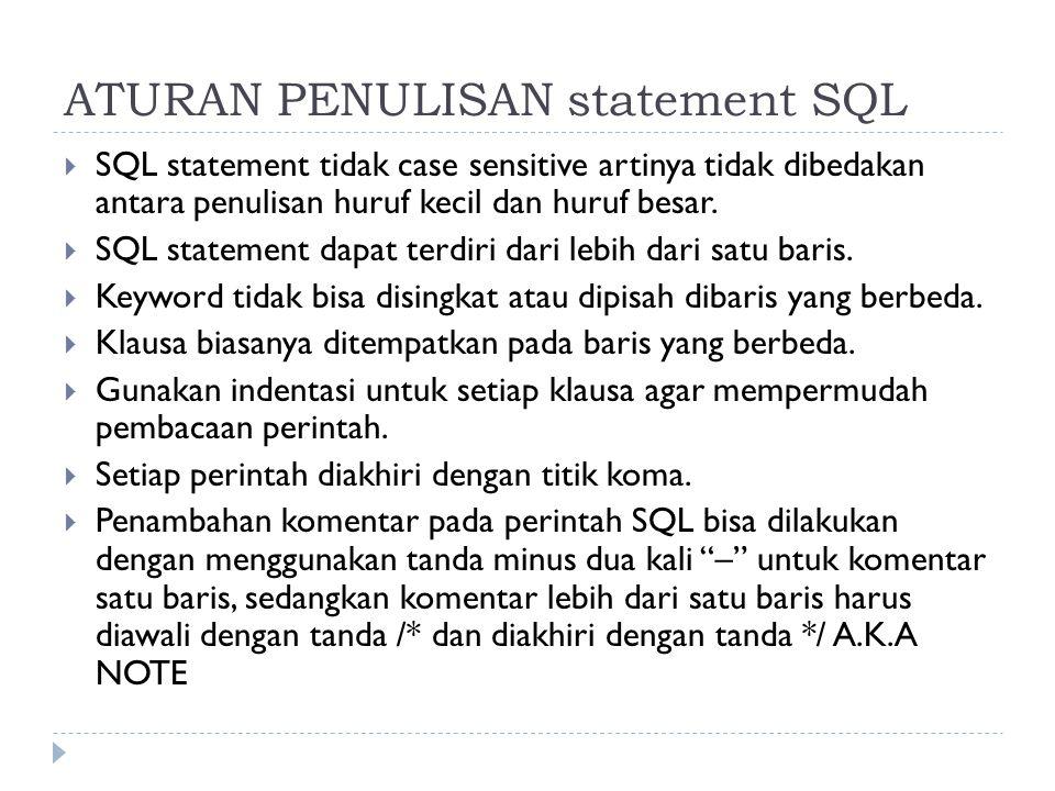 ATURAN PENULISAN statement SQL  SQL statement tidak case sensitive artinya tidak dibedakan antara penulisan huruf kecil dan huruf besar.  SQL statem
