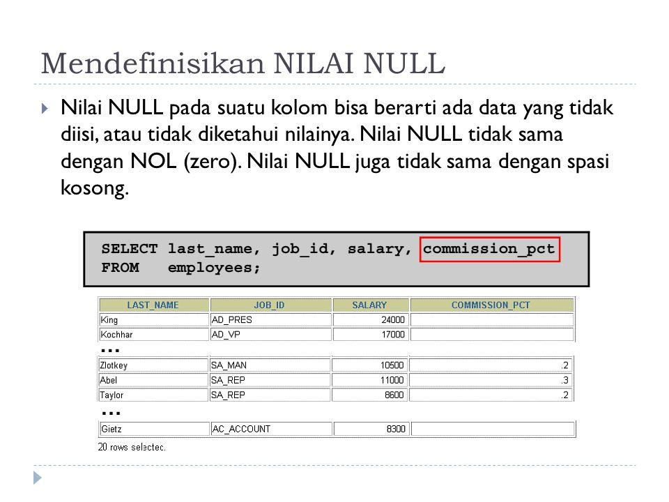 Mendefinisikan NILAI NULL  Nilai NULL pada suatu kolom bisa berarti ada data yang tidak diisi, atau tidak diketahui nilainya. Nilai NULL tidak sama d