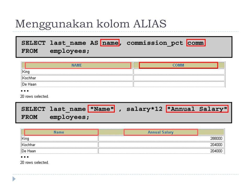 Menggunakan kolom ALIAS  Judul (secara default) pada tiap kolom yang ditampilkan (heading) selalu sama dengan nama kolomnya dan ditulis dengan huruf