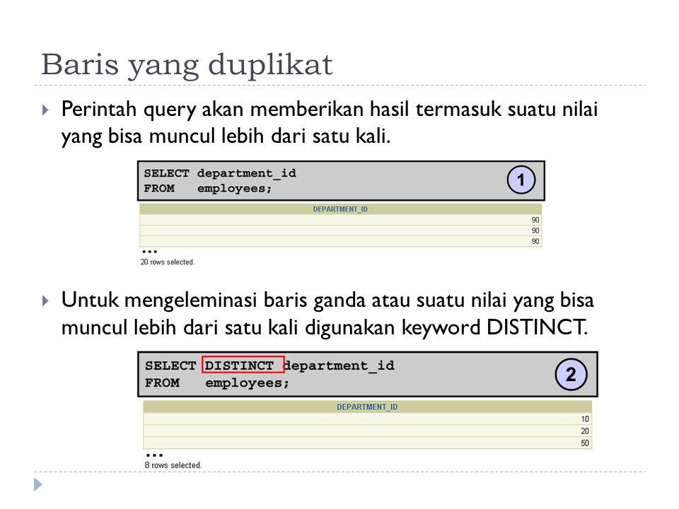 Baris yang duplikat  Perintah query akan memberikan hasil termasuk suatu nilai yang bisa muncul lebih dari satu kali.  Untuk mengeleminasi baris gan