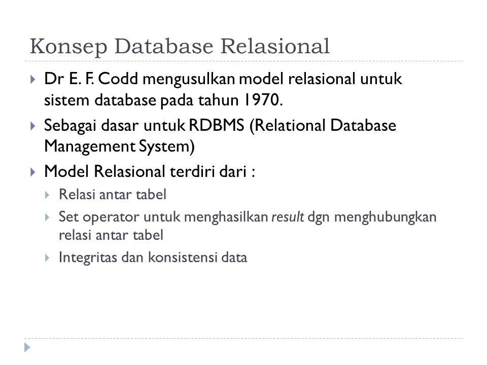Konsep Database Relasional  Dr E. F. Codd mengusulkan model relasional untuk sistem database pada tahun 1970.  Sebagai dasar untuk RDBMS (Relational