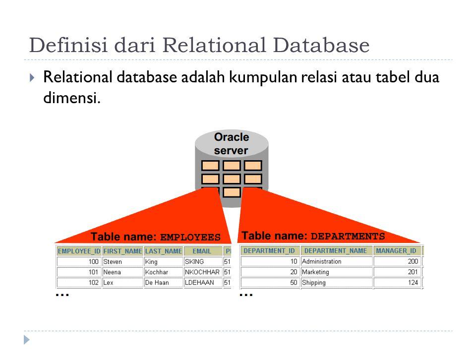 Definisi dari Relational Database  Relational database adalah kumpulan relasi atau tabel dua dimensi.